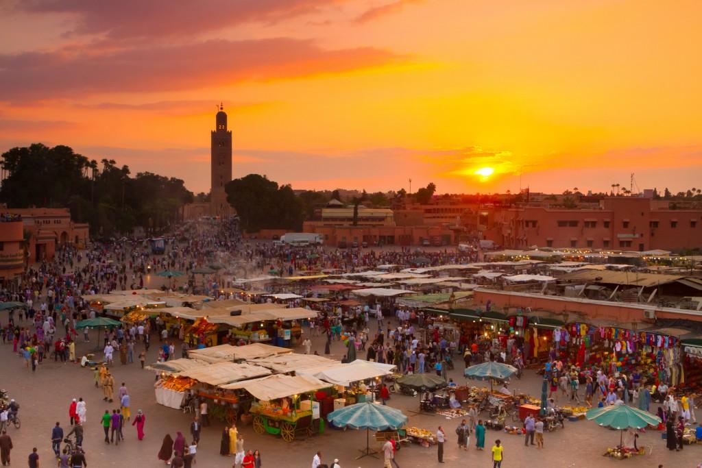 Jamaa el Fna also Jemaa el Fnaa, Djema el Fna or Djemaa el Fnaa is square and market place in Marrakesh's medina quarter. Marrakesh, Morocco, north Africa. UNESCO Heritage of Humanity. (Jamaa el Fna also Jemaa el Fnaa, Djema el Fna or Djemaa el Fnaa i