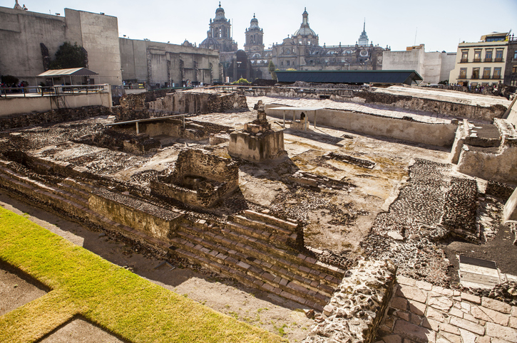 the Templo Mayor was one of the main temples of the Aztecs in their capital city of Tenochtitlan, which is now Mexico City. Its architectural style belongs to the late Postclassic period of Mesoamerica.