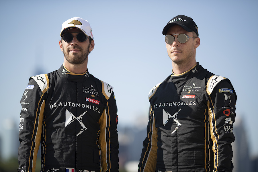 BROOKLYN STREET CIRCUIT, UNITED STATES OF AMERICA - JULY 12: Jean-Eric Vergne (FRA), DS TECHEETAH and Andre Lotterer (DEU), DS TECHEETAH during the New York City E-prix I at Brooklyn Street Circuit on July 12, 2019 in Brooklyn Street Circuit, United States of America. (Photo by Alastair Staley / LAT Images)