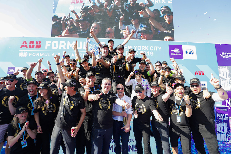 BROOKLYN STREET CIRCUIT, UNITED STATES OF AMERICA - JULY 14: DS Techeetah team photo on the podium after Jean-Eric Vergne (FRA), DS TECHEETAH wins the championship during the New York City E-prix II at Brooklyn Street Circuit on July 14, 2019 in Brooklyn Street Circuit, United States of America. (Photo by Sam Bloxham / LAT Images)