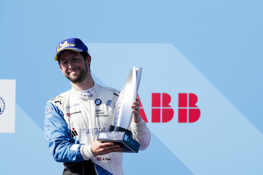 BROOKLYN STREET CIRCUIT, UNITED STATES OF AMERICA - JULY 14: Alexander Sims (GBR) BMW I Andretti Motorsports, 2nd position, celebrates on the podium during the New York City E-prix II at Brooklyn Street Circuit on July 14, 2019 in Brooklyn Street Circuit, United States of America. (Photo by Alastair Staley / LAT Images)