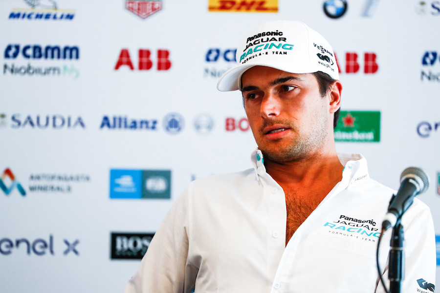 AUTODROMO HERMANOS RODRIGUEZ, MEXICO - FEBRUARY 15: Nelson Piquet Jr. (BRA), Panasonic Jaguar Racing, Jaguar I-Type 3 in the press conference during the Mexico City E-prix at Autodromo Hermanos Rodriguez on February 15, 2019 in Autodromo Hermanos Rodriguez, Mexico. (Photo by Sam Bloxham / LAT Images)